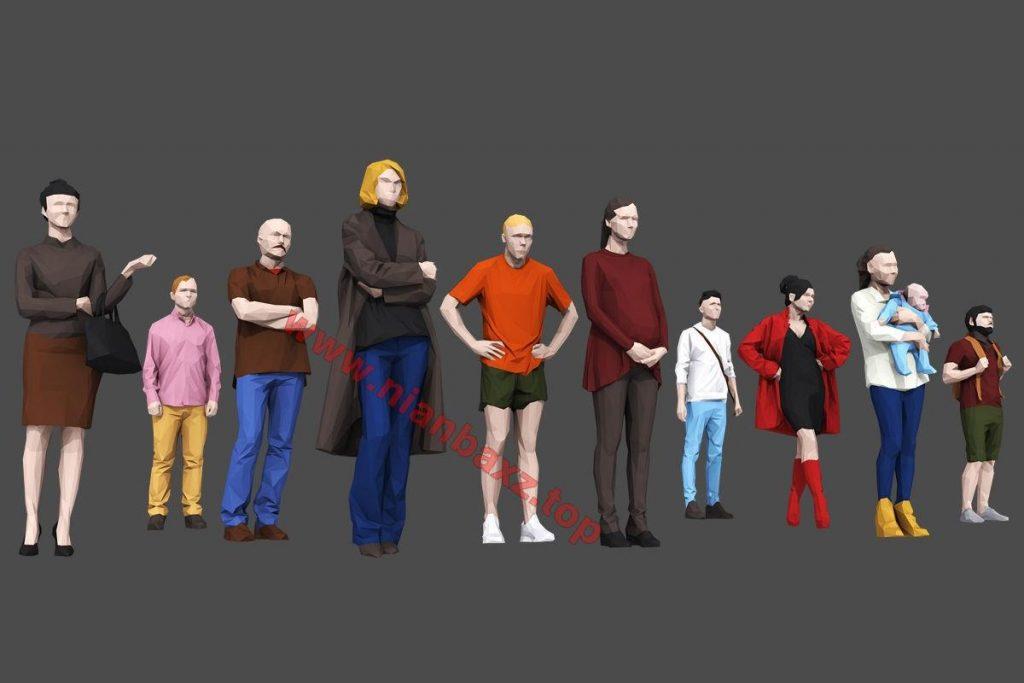 3D模型:84个低多边形现代人物走路模型C4D MAX FBX OBJ格式