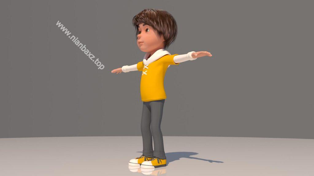 3D模型:卡通人物男孩女孩大人保姆模型 MAX FBX OBJ 格式